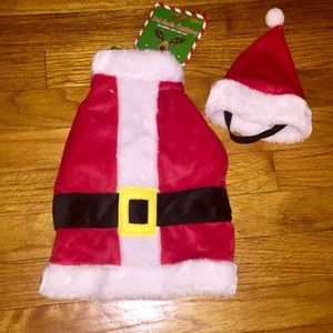 DOG CLOTHES Santa Fur Dress & Hat Christmas S NWT